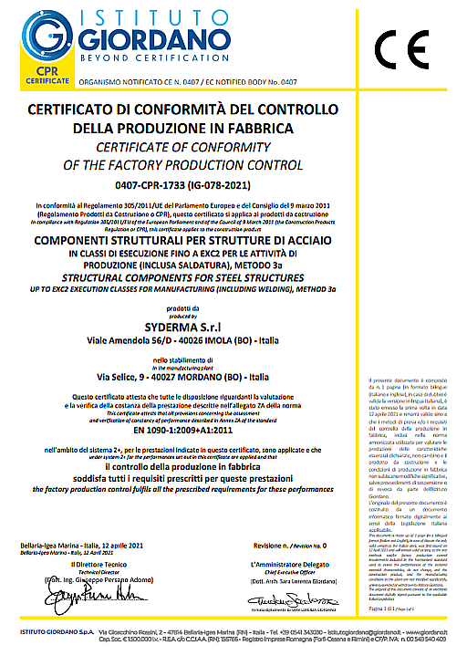CERTIFICATO DI CONFORMITA EN 1090 EXC2